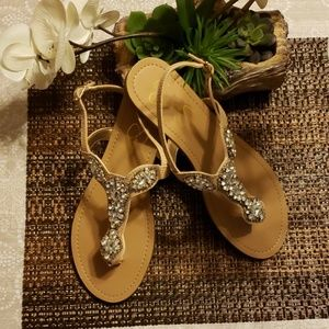 Nude crystal sandals